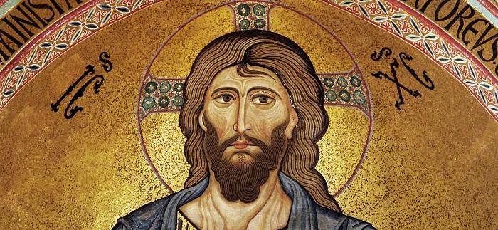 Christos Pantocrator (kristur almáttugur), mósaíkmynd í dómkirkjunni í Cefalú á Sikiley.