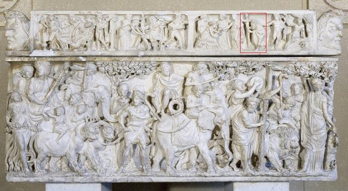 Steinkista frá 2. öld sýnir ævisögu Díónýsusar.
