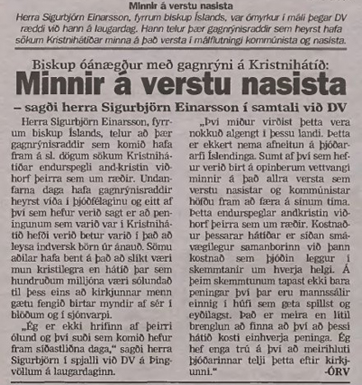 Sigurbjörn Einarsson: Minnir á verstu nasista