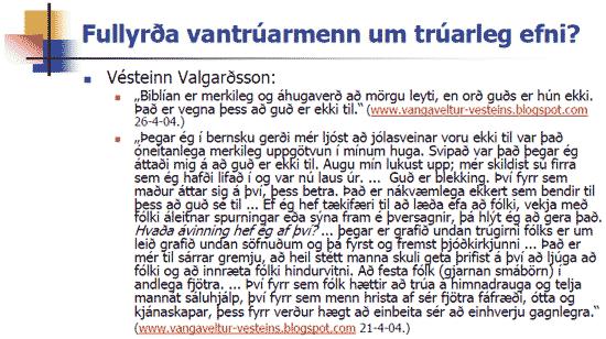 Fullyrðir Hjalti um trúarleg efni?