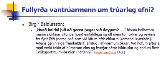 Fullyrðir Birgir um trúarleg efni?