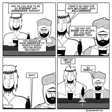 Teiknimynd af Jesus og Mo