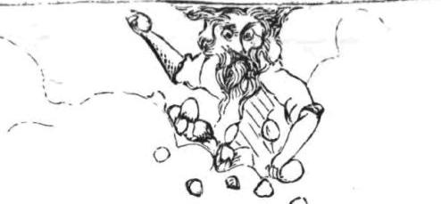 Mynd af Jahve að kasta steinum