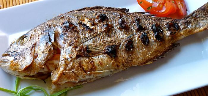 Mynd af steiktum fisk