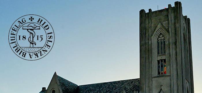 Mynd af kaþólskri kirkju og merki HÍB