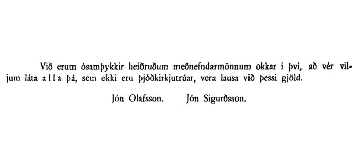 Tilvitnun frá Alþingi 1909