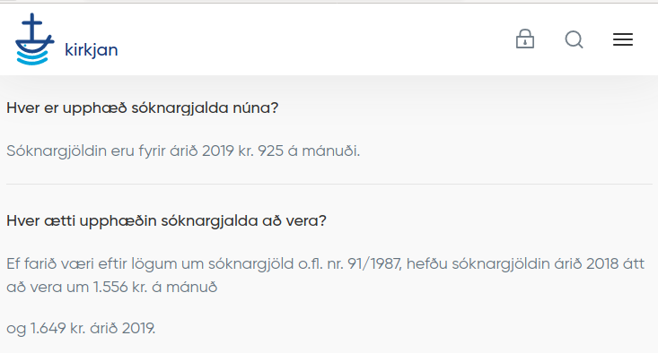 Skjáskot af heimasíðu Þjóðkirkjunnar